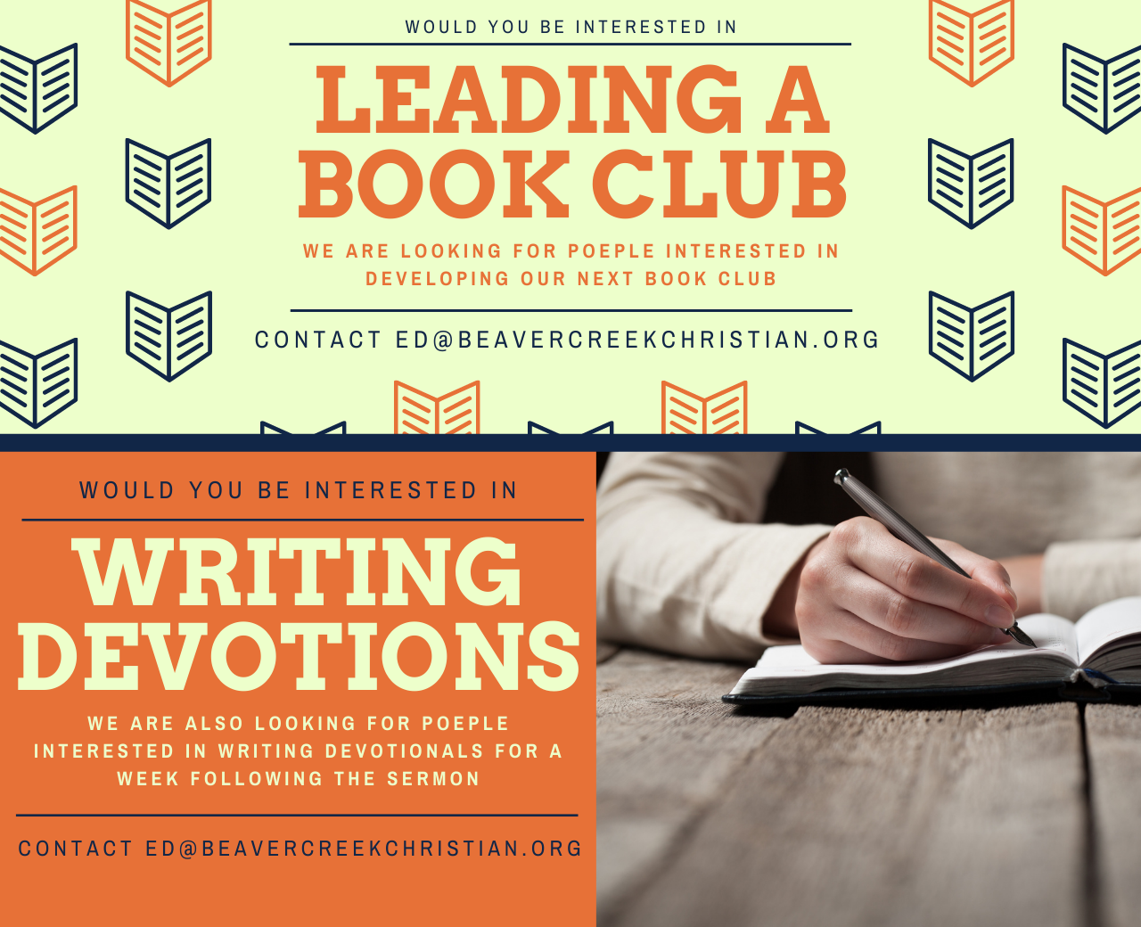 Servants Needed! – To write devotions and lead a book club